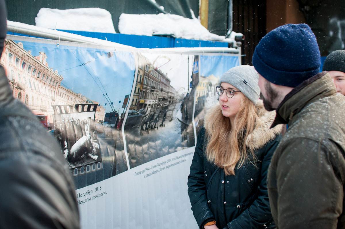 Немецкие студенты на молодежной акции «Муза Блокады». Январь2019